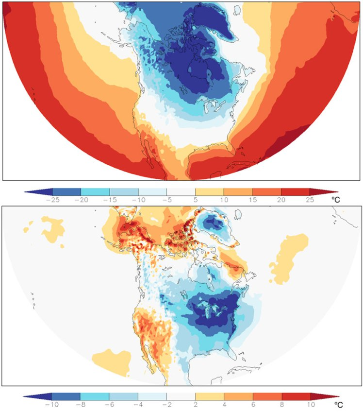 temperatures in North America averaged over the two-week period December 25, 2017 to January 7, 2018
