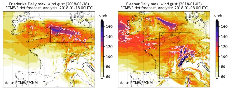 Maps showing trongest wind gusts during the storms Friederike (a) and Eleanor (b) as estimated from the ECMWF deterministic forecasts