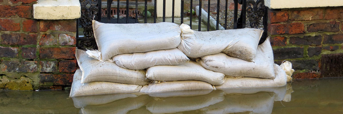 Sand bags in a flooded street