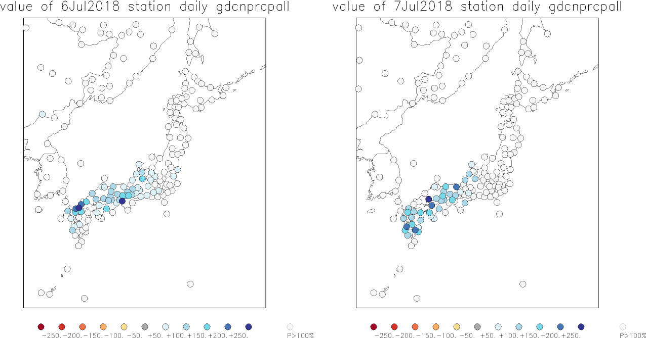 Maps showing rainfall over Japan on 6 & 7 July 2018