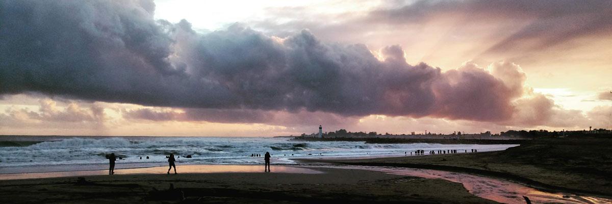 Stormy sky over a calm beach